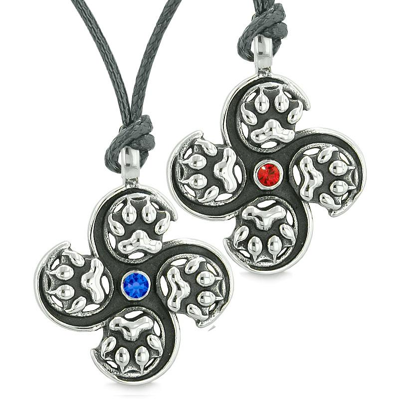 Supernatural Wolf Paw Amulet Powers Love Couple Best Friends Red Royal Blue Crystals Necklaces