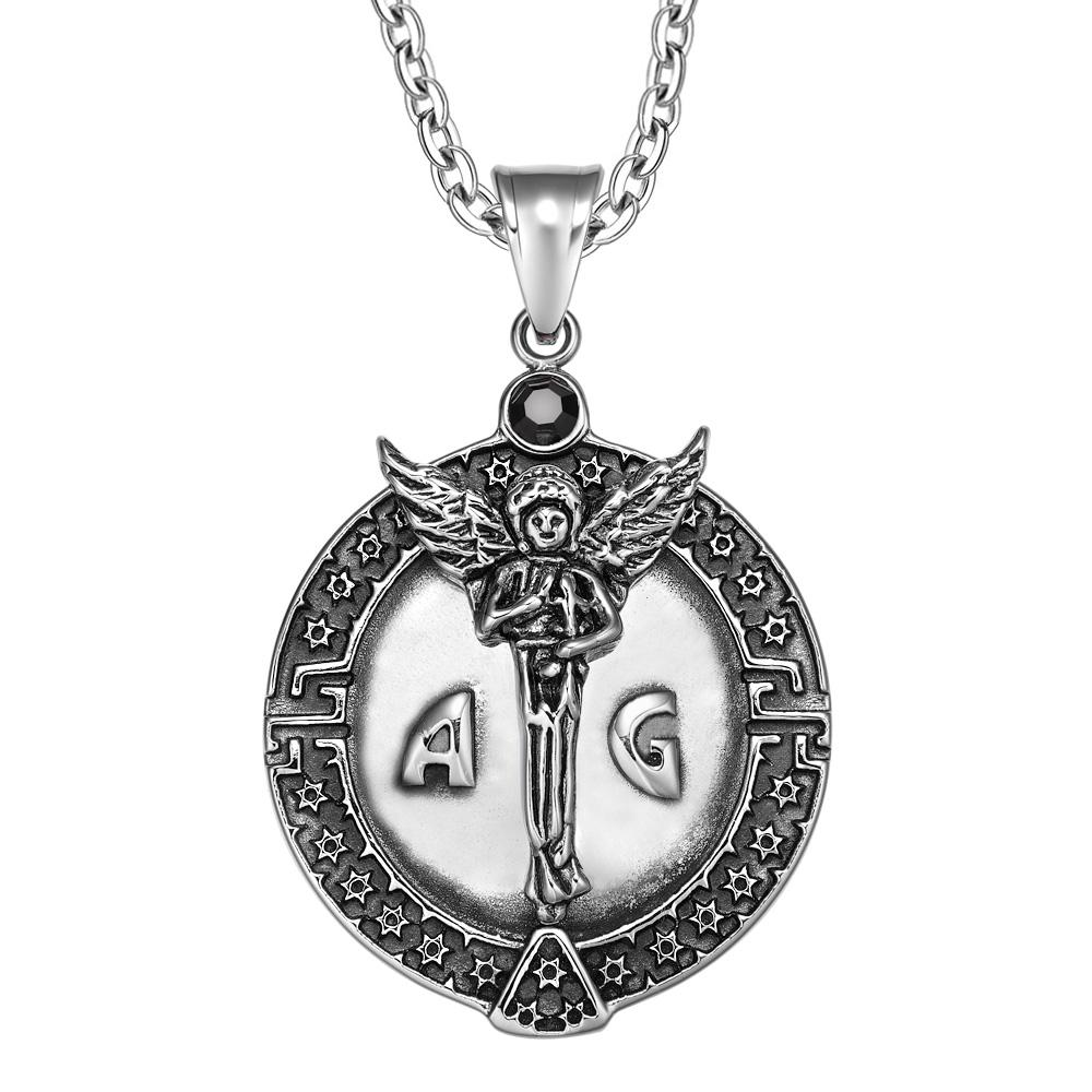 Guardian Archangel Michael Medallion Star of David Accents Amulet Black Crystal Pendant 22 Inch Necklace