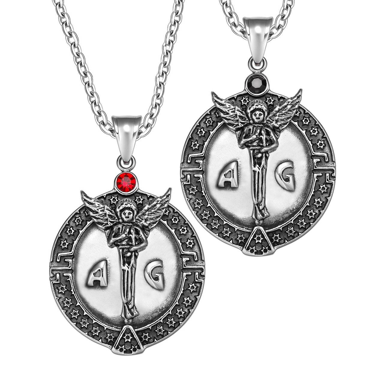 Archangel Michael Star of David Accents Love Copules or Best Friends Amulets Set Black Red Necklaces