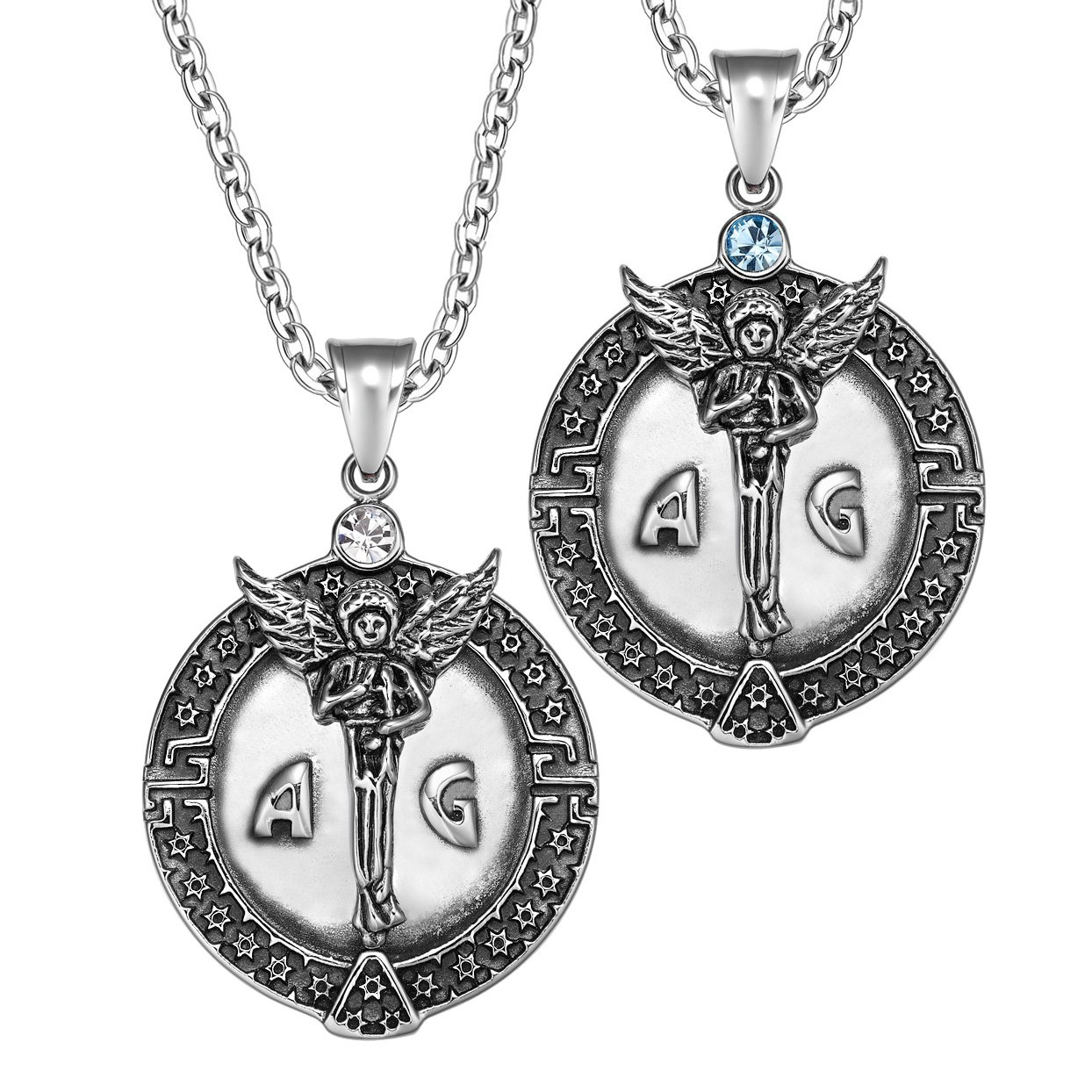 Archangel Michael Star of David Accents Love Copules or Best Friends Amulets Set Sky Blue White Necklaces