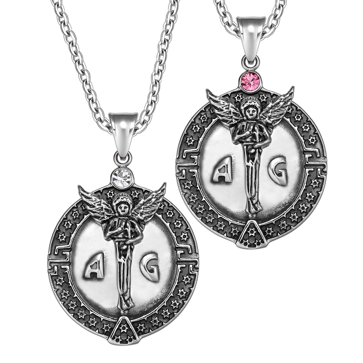 Archangel Michael Star of David Accents Love Copules or Best Friends Amulets Set Pink White Necklaces