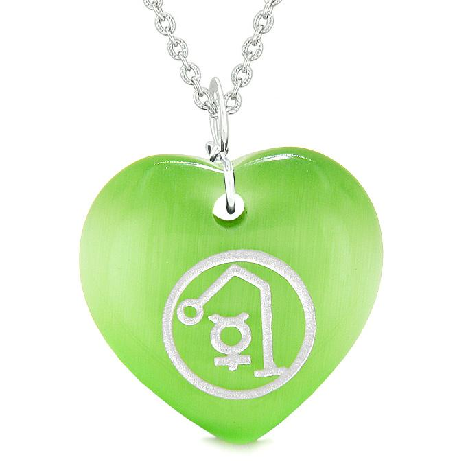 Archangel Raphael Sigil Magic Planet Amulet Puffy Heart Green Simulated Cats Eye 18 inch Necklace