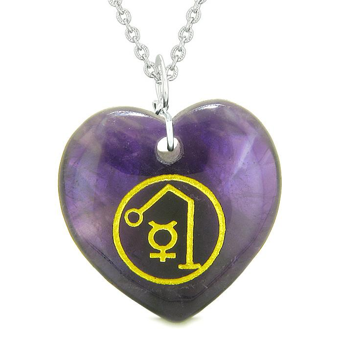 Archangel Raphael Sigil Magic Amulet Planet Energy Puffy Heart Pendant Necklace