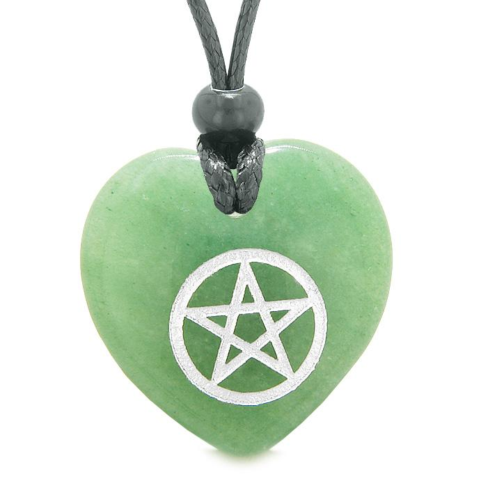 Amulet Magical Pentacle Protection Powers Puffy Heart Energy Green Quartz Pendant Necklace
