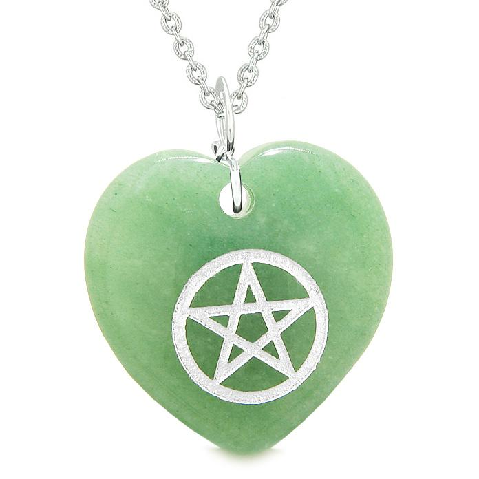 Amulet Magical Pentacle Protection Powers Puffy Heart Energy Green Quartz Pendant 18 inch Necklace