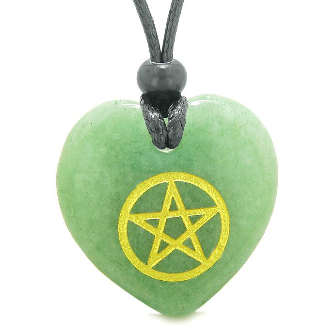 Amulet Magical Pentacle Energy Protection Powers Puffy Heart Green Quartz Pendant Necklace