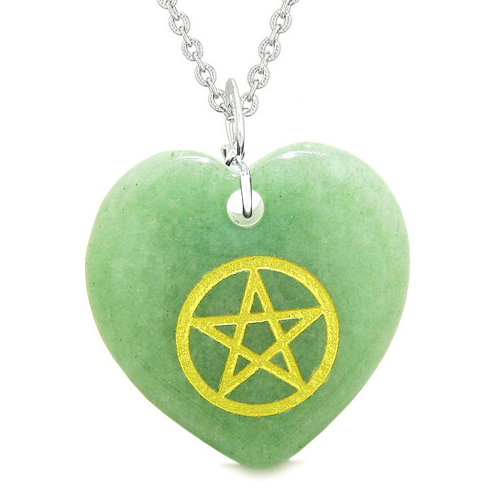 Amulet Magical Pentacle Energy Protection Powers Puffy Heart Green Quartz Pendant 18 inch Necklace