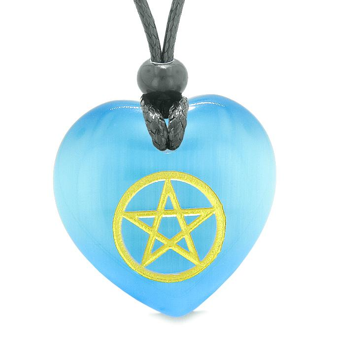 Amulet Magical Pentacle Energy ProtectiPuffy Heart Sky Blue Simulated Cats Eye Pendant Necklace