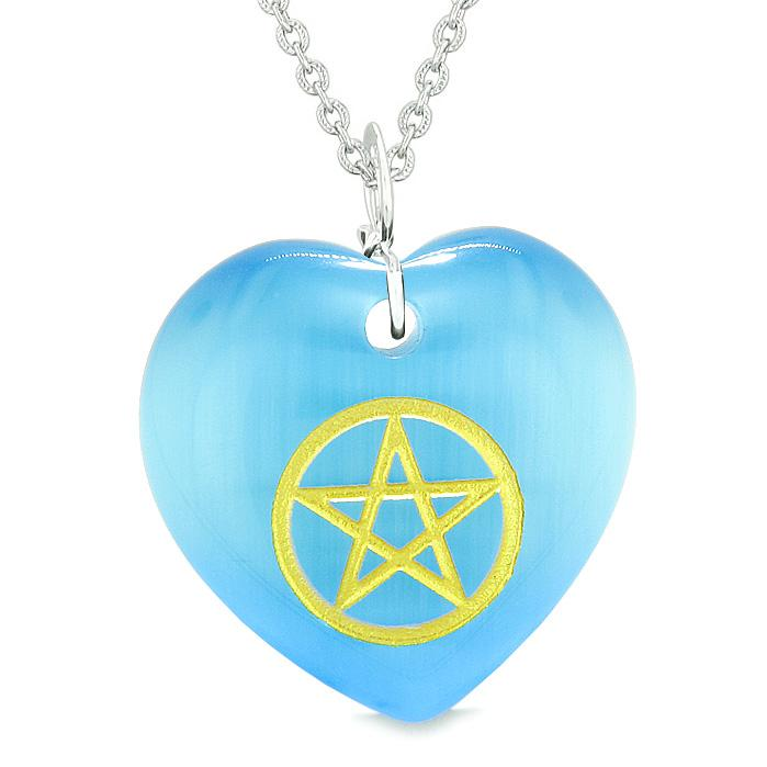 Amulet Magical Pentacle Energy Protection Powers Puffy Heart Sky Blue Simulated Cats Eye Necklace