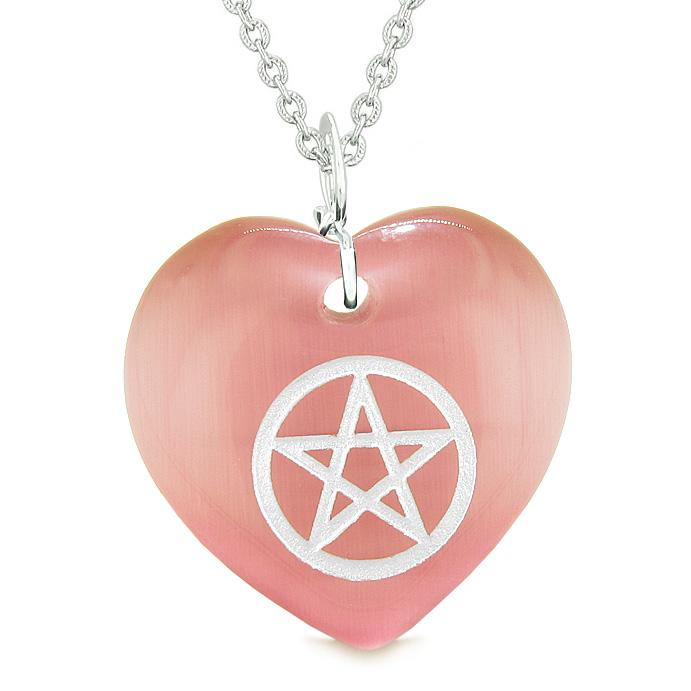 Amulet Magical Pentacle Protection Powers Puffy Heart Energy Pink Simulated Cats Eye Necklace