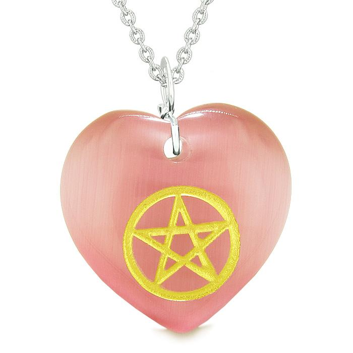 Amulet Magical Pentacle Energy Protection Powers Puffy Heart Pink Simulated Cats Eye Necklace