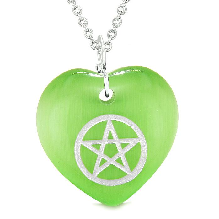 Amulet Magical Pentacle Protection Powers Puffy Heart Energy Green Simulated Cats Eye Necklace