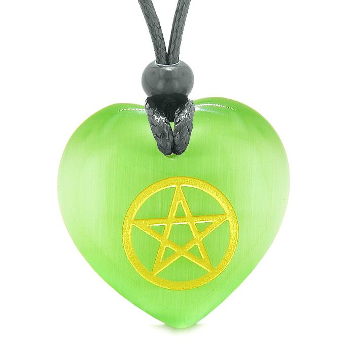 Amulet Magical Pentacle Energy Protection Puffy Heart Green Simulated Cats Eye Pendant Necklace