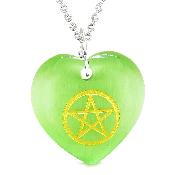 Amulet Magical Pentacle Energy Protection Powers Puffy Heart Green Simulated Cats Eye Necklace