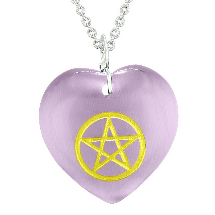 Amulet Magical Pentacle Energy Protection Powers Puffy Heart Purple Simulated Cats Eye Necklace