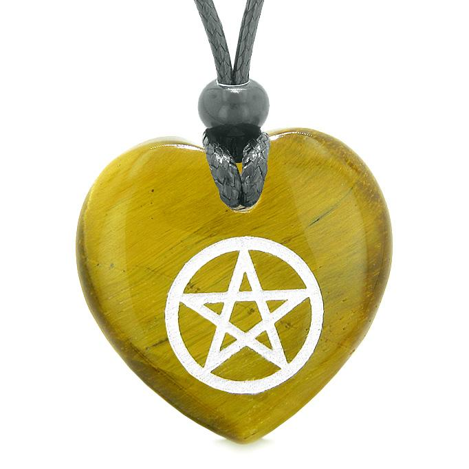 Amulet Magical Pentacle Protection Powers Puffy Heart Energy Tiger Eye Pendant Adjustable Necklace