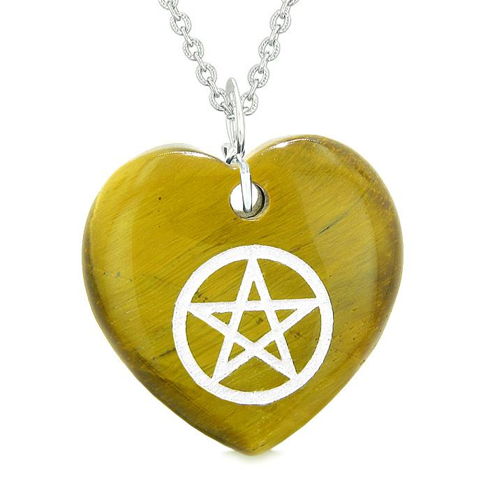 Amulet Magical Pentacle Protection Powers Puffy Heart Energy Tiger Eye Pendant 22 inch Necklace