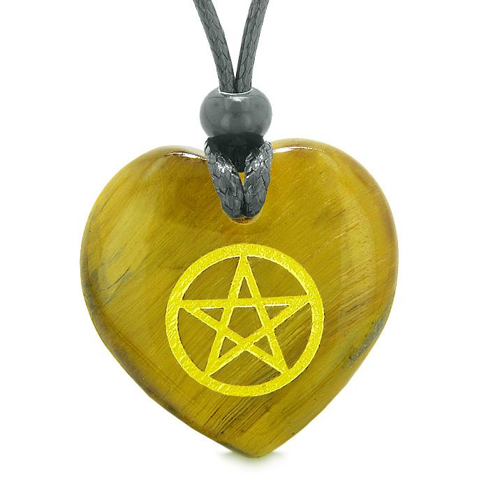 Amulet Magical Pentacle Energy Protection Powers Puffy Heart Tiger Eye Pendant Adjustable Necklace