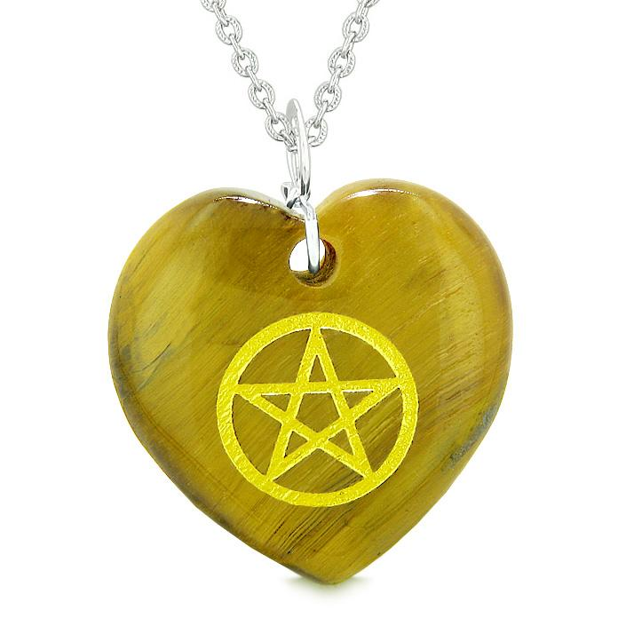 Amulet Magical Pentacle Energy Protection Powers Puffy Heart Tiger Eye Pendant 18 inch Necklace