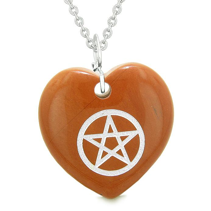 Amulet Magical Pentacle Protection Powers Puffy Heart Energy Red Jasper Pendant 22 inch Necklace
