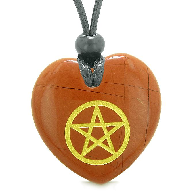 Amulet Magical Pentacle Energy Protection Powers Puffy Heart Red Jasper Pendant Adjustable Necklace