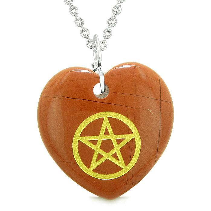Amulet Magical Pentacle Energy Protection Powers Puffy Heart Red Jasper Pendant 18 inch Necklace