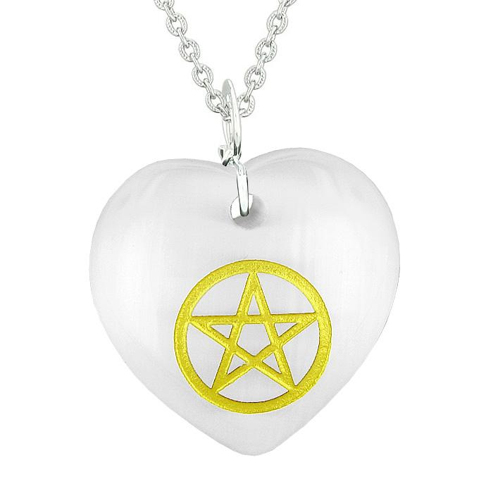 Amulet Magical Pentacle Energy Protection Powers Puffy Heart White Simulated Cats Eye Necklace