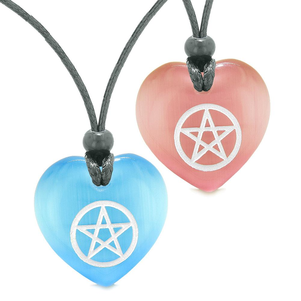 Amulets Magical Pentacle Energy Best Friends Love Couples Blue Pink Simulated Cats Eye Necklaces