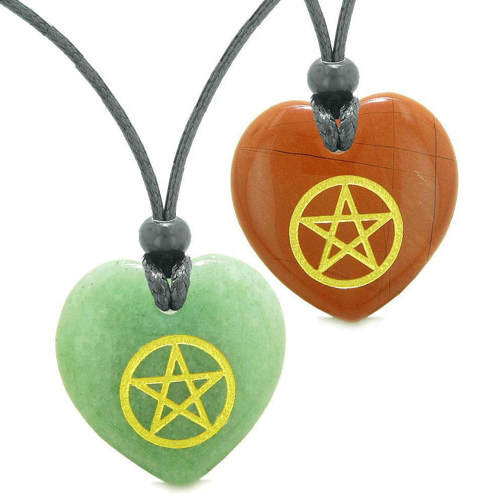 Amulets Magical Pentacle Energy Best Friends or Love Couples Set Green Quartz Red Jasper Necklaces