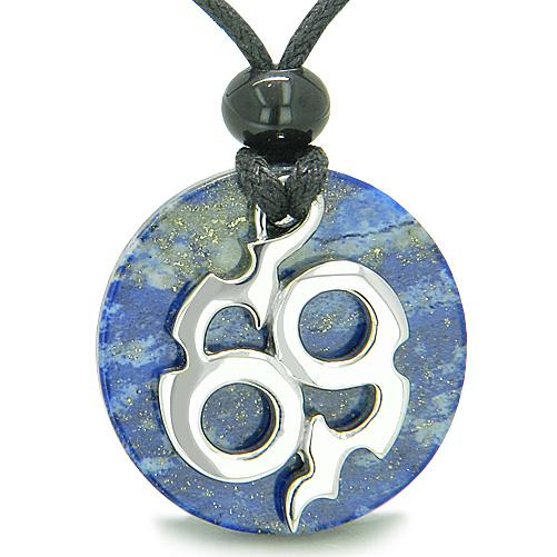Amulet Infinity Symbol Magic Fire Energy MedalliLapis Lazuli Good Luck Powers Pendant Necklace
