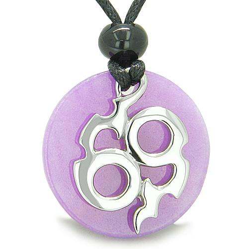 Amulet Infinity Symbol Magic Fire Energy Medallion Purple Jade Good Luck Powers Pendant Necklace