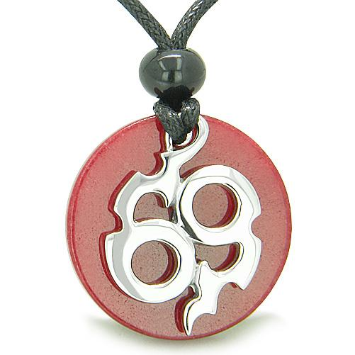 Amulet Infinity Symbol Magic Fire Energy Medallion Red Jade Good Luck Powers Pendant Necklace