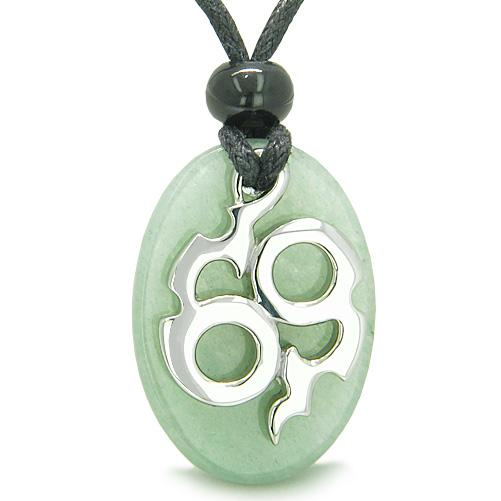 Amulet Infinity Symbol Magic Fire Energy Lucky Charm Aventurine Good Luck Powers Pendant Necklace