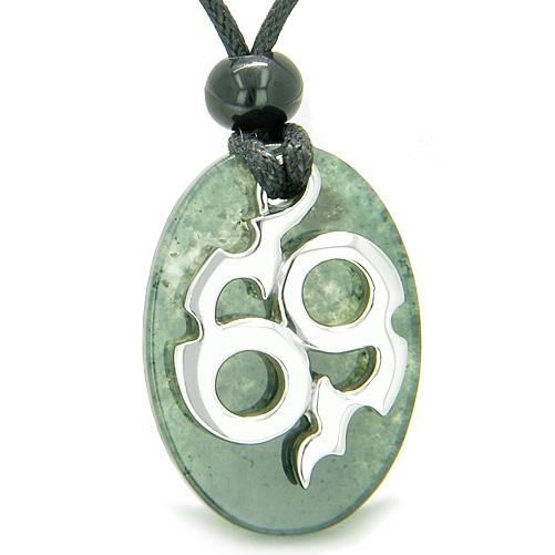 Amulet Infinity Symbol Magic Fire Energy Lucky Charm Moss Agate Good Luck Powers Pendant Necklace