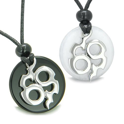 Amulets Infinity Best Friends Love Couple Magic Fire Energy Medallions Jade Onyx Charms Necklaces