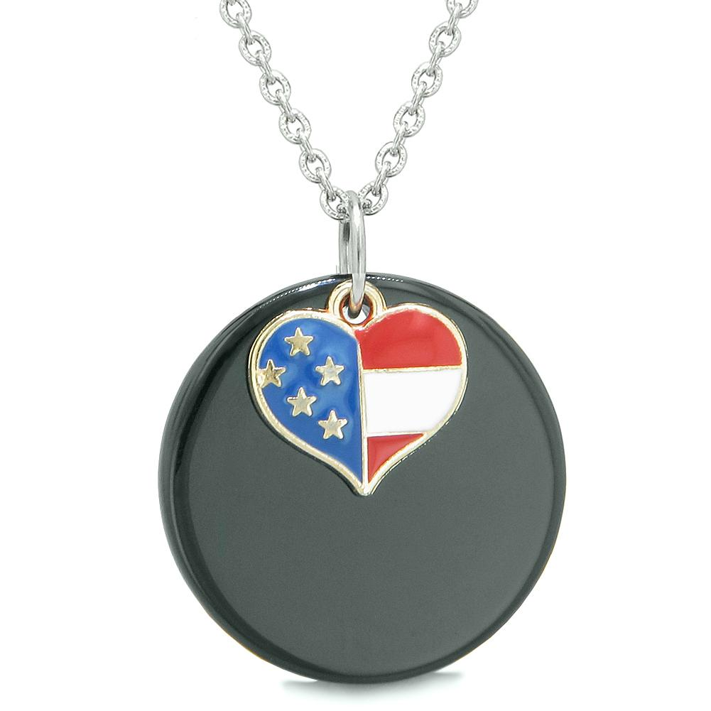 Proud American Flag Spirit Super Heart Lucky Charm Black Agate Spiritual Amulet 22 Inch Necklace