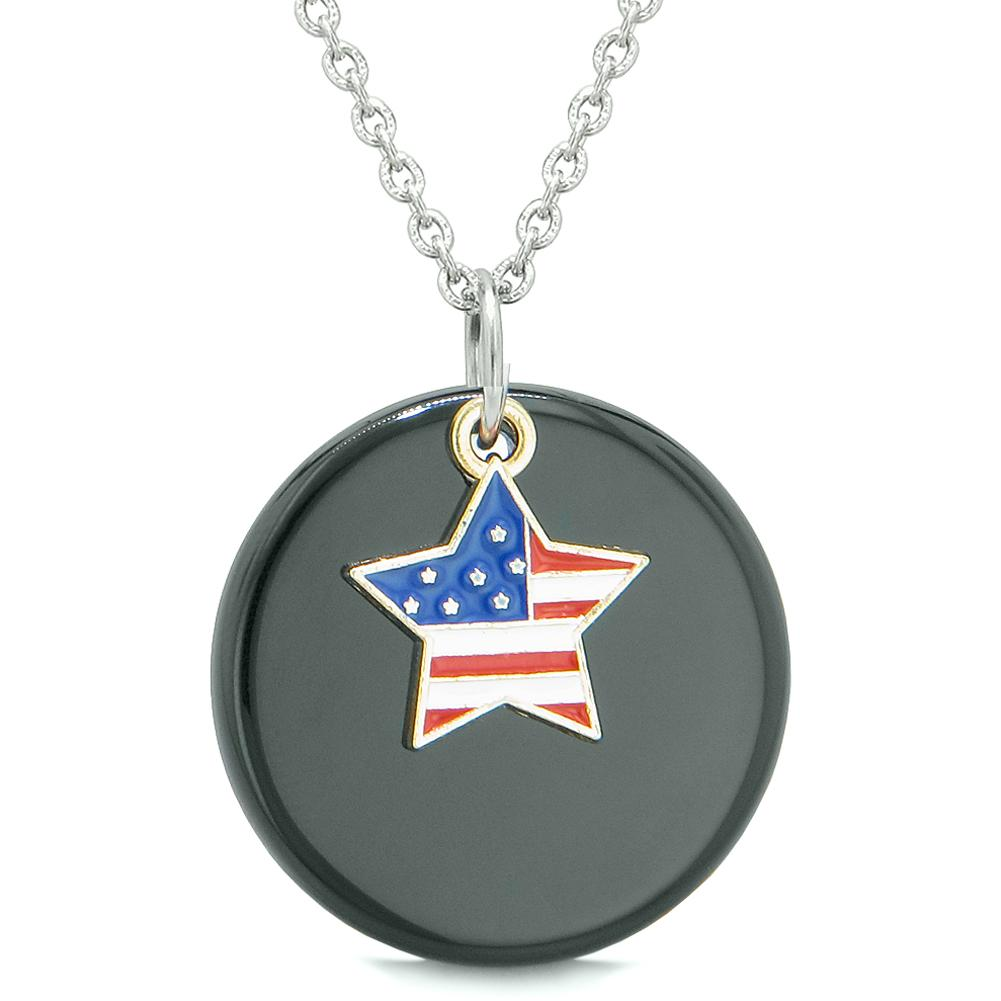 Proud American Flag Spirit Super Star Lucky Charm Black Agate Spiritual Amulet 18 Inch Necklace