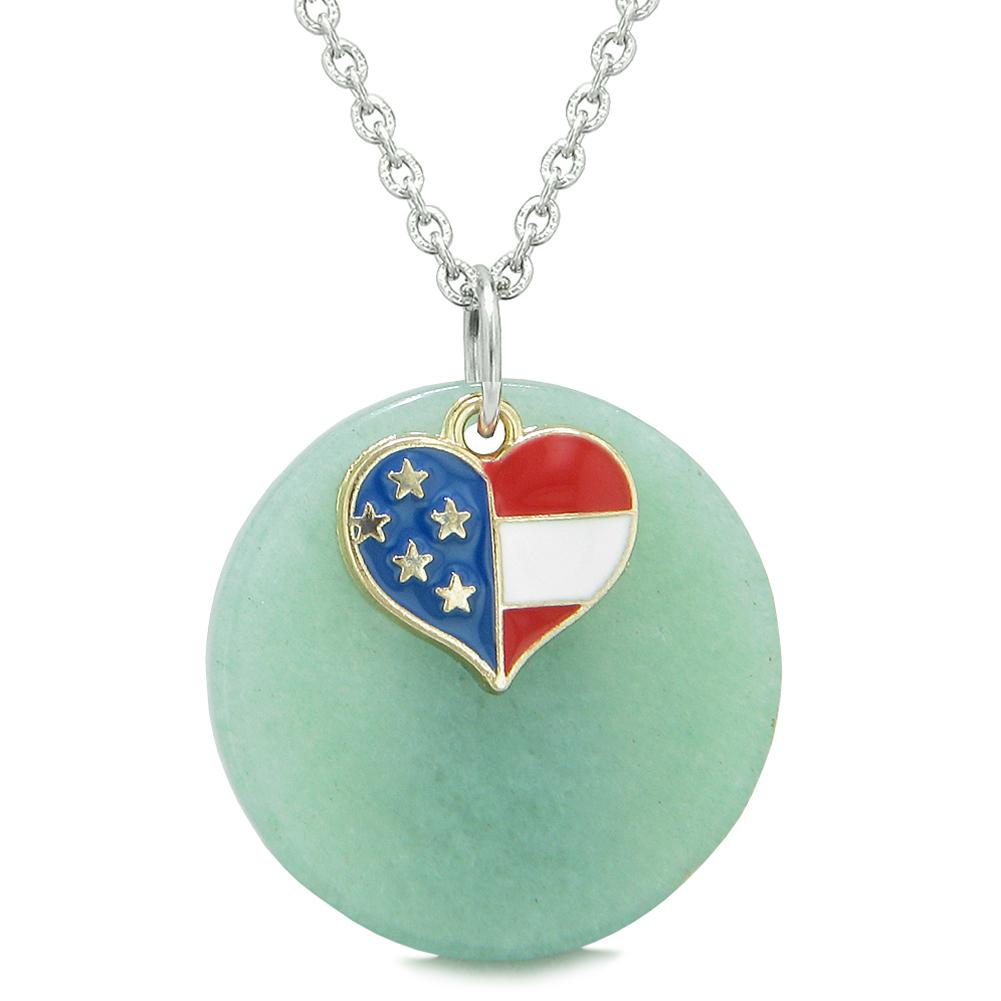 Proud American Flag Spirit Super Heart Lucky Charm Green Quartz Spiritual Amulet 22 Inch Necklace