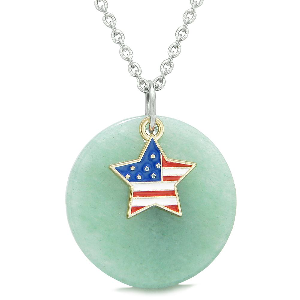 Proud American Flag Spirit Super Star Lucky Charm Green Quartz Spiritual Amulet 18 Inch Necklace