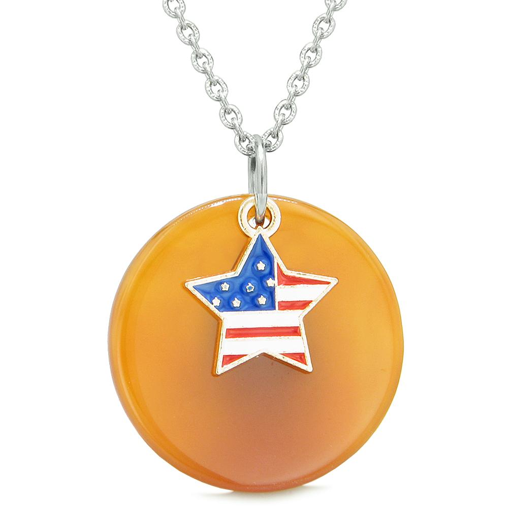 Proud American Flag Spirit Super Star Lucky Charm Carnelian Spiritual Amulet 22 Inch Necklace