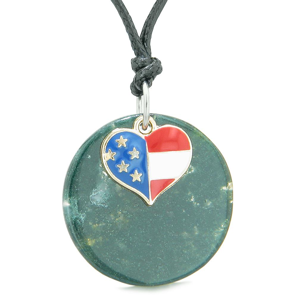 Proud American Flag Spirit Super Heart Lucky Charm Green Agate Spiritual Amulet Adjustable Necklace