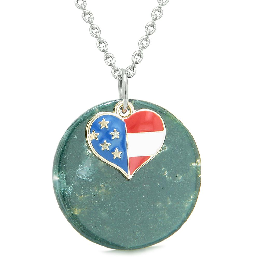 Proud American Flag Spirit Super Heart Lucky Charm Green Agate Spiritual Amulet 18 Inch Necklace