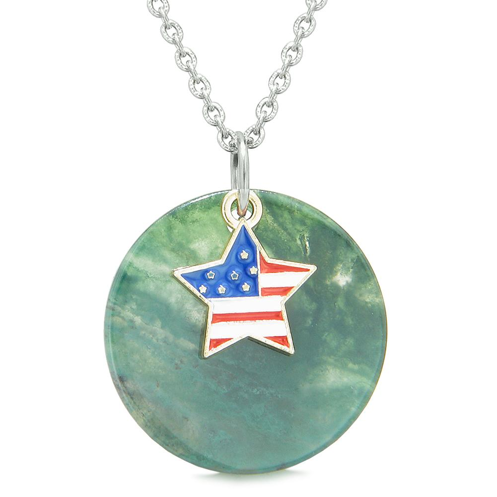 Proud American Flag Spirit Super Star Lucky Charm Green Agate Spiritual Amulet 18 Inch Necklace