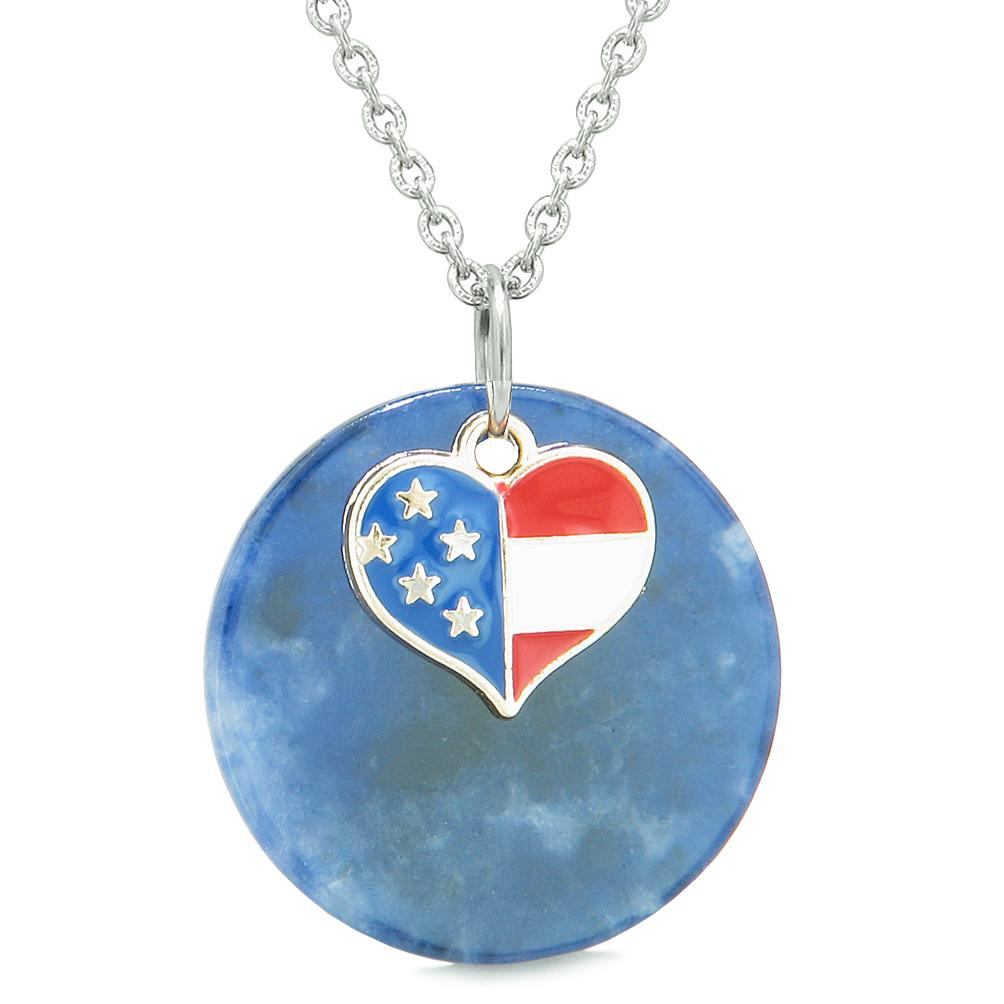 Proud American Flag Spirit Super Heart Lucky Charm Sodalite Spiritual Amulet 18 Inch Necklace