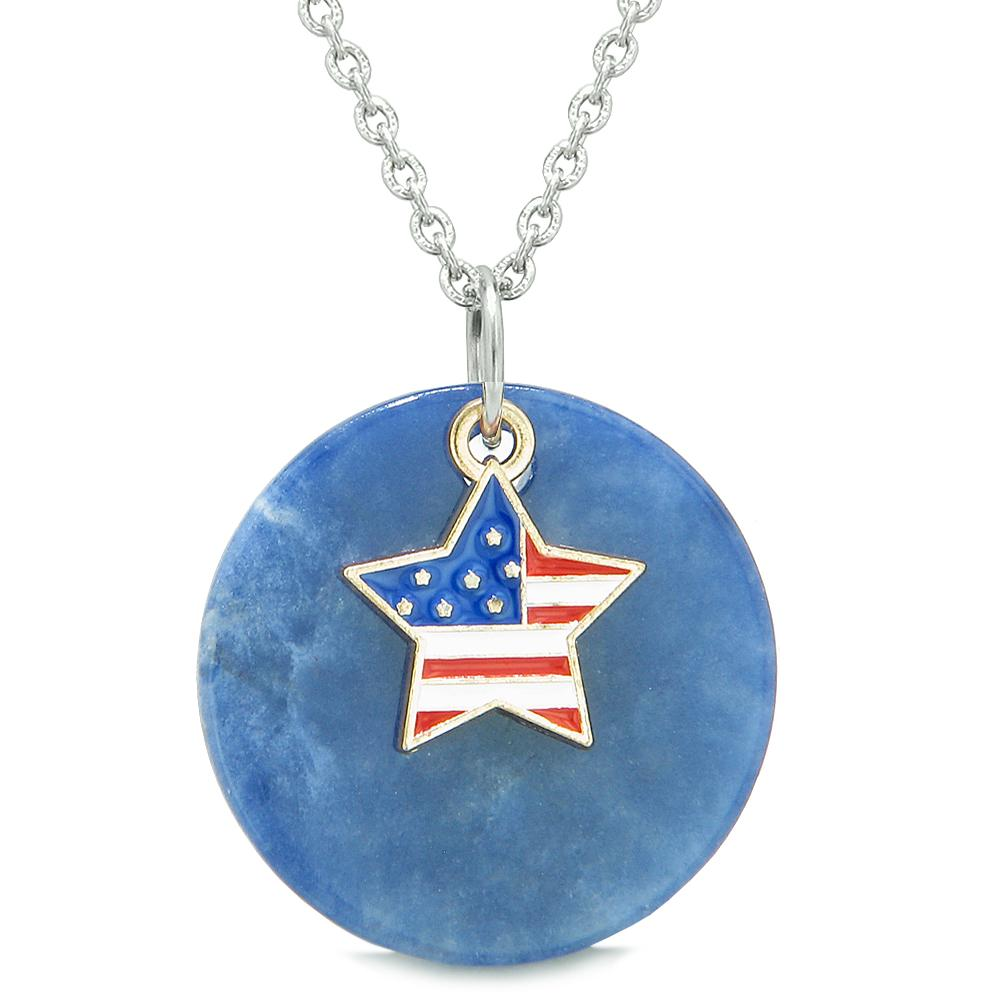 Proud American Flag Spirit Super Star Lucky Charm Sodalite Spiritual Amulet 18 Inch Necklace