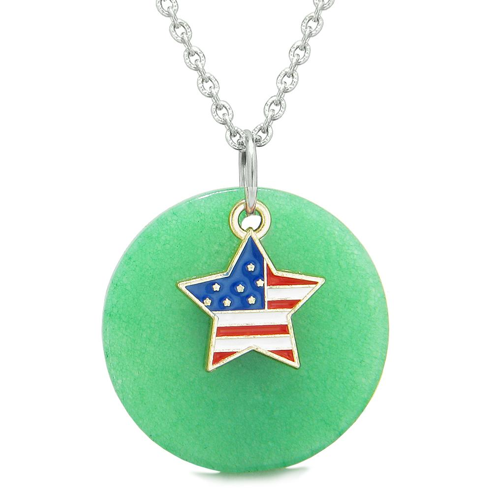 Proud American Flag Spirit Super Star Lucky Charm Deep Green Quartz Spiritual Amulet 18 Inch Necklace