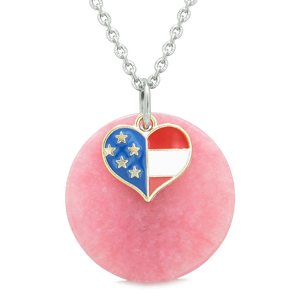 Proud American Flag Spirit Super Heart Lucky Charm Pink Quartz Spiritual Amulet 22 Inch Necklace