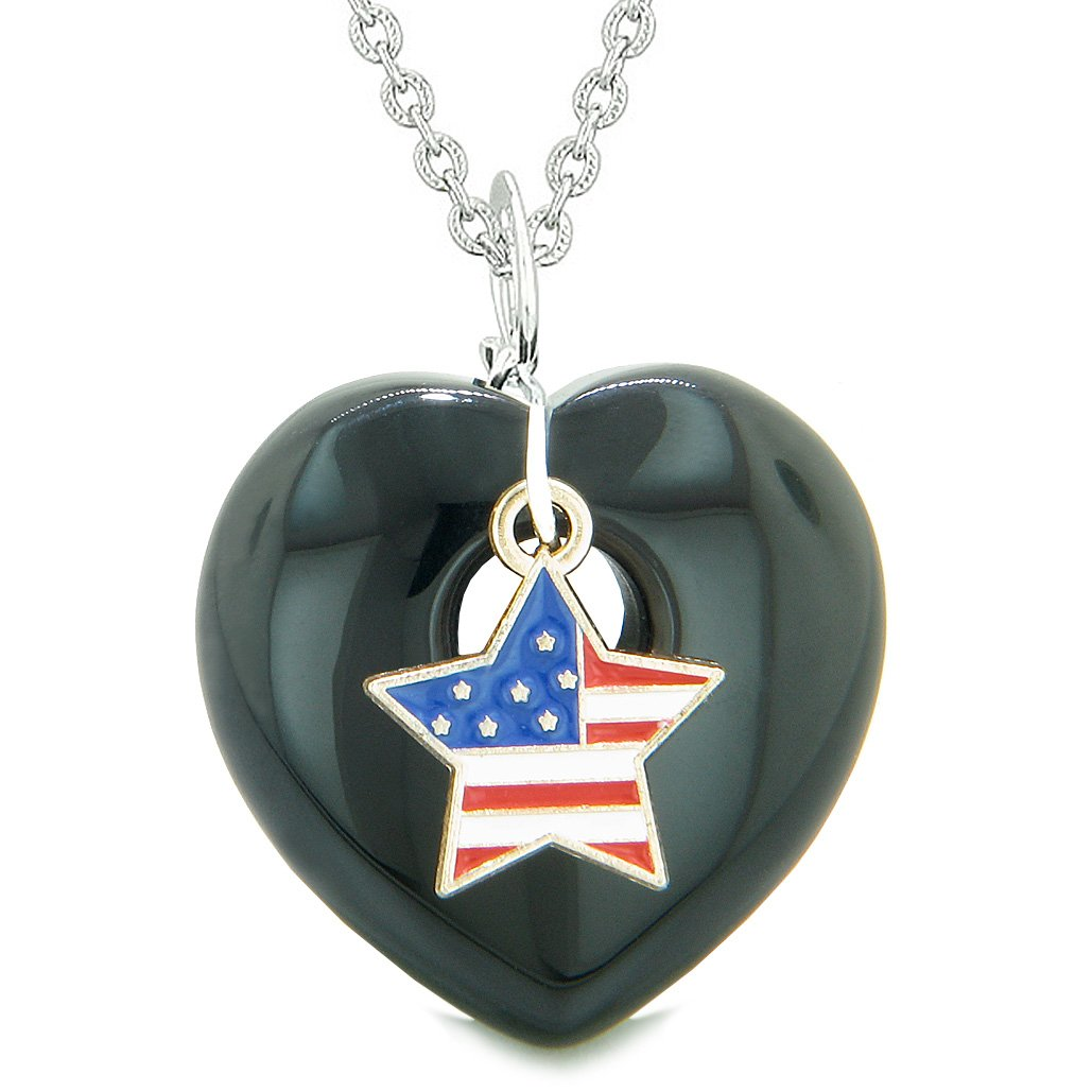 Proud USA Flag Spirit Puffy Heart Protection Amulet American Star Charm Black Agate 18 Inch Necklace