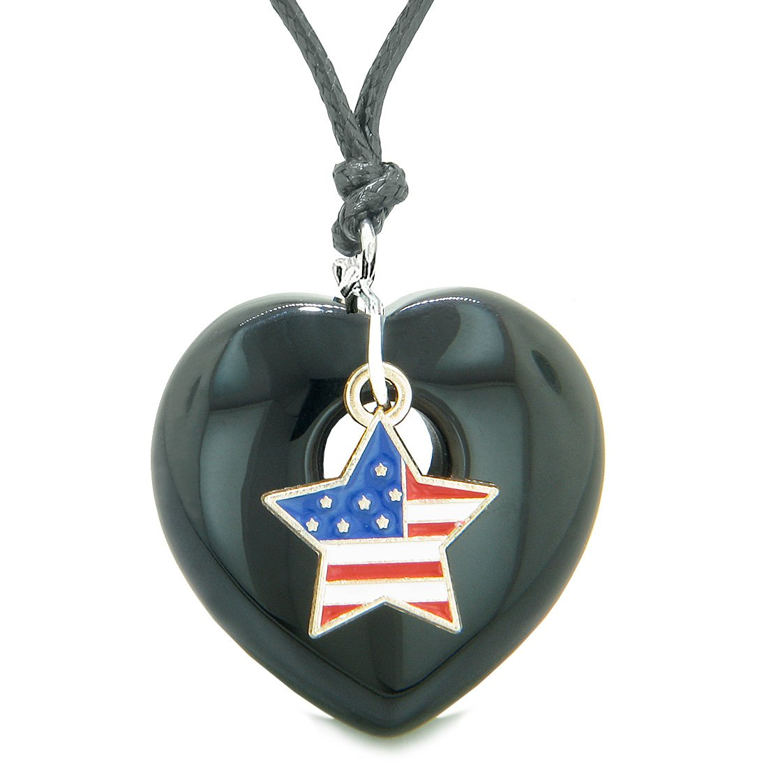 Proud USA Flag Spirit Puffy Heart Protection Amulet American Star Charm Black Agate Adjustable Necklace