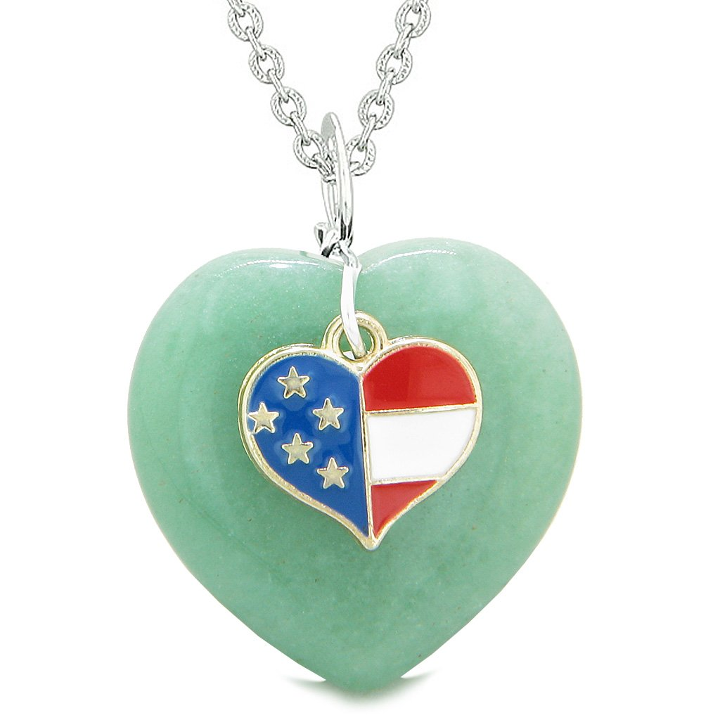 Proud USA Flag Spirit Puffy Heart Protection Amulet American Charm Green Quartz 18 Inch Necklace